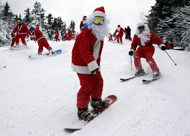дед мороз на лыжах