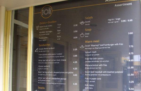 menu cafe keukenhof