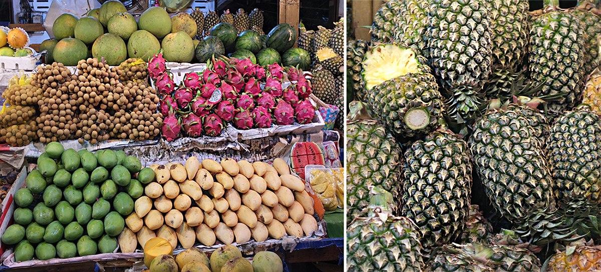 Местные фрукты на улицах Паттайи
